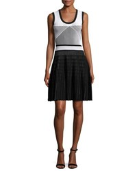Prabal Gurung Sleeveless Two Tone Knit Dress Black White Black White