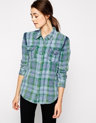 Blank Nyc Plaid Shirt Bluecheck