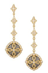 Freida Rothman 14K Gold Plated Sterling Silver Cz Hammered Clover Earrings Black