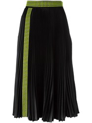 Christopher Kane Studded Pleated Midi Skirt Black