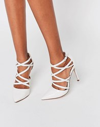 Asos Potion Pointed Caged High Heels Stone Cream