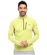 The North Face Impulse Active 1 4 Zip Pullover Chive Green Heather Climbing Ivy Green Men's Long Sleeve Pullover Yellow