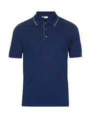 Brioni Short Sleeved Cotton Pique Polo Shirt Blue