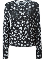 Dolce And Gabbana Floral Print Cardigan Black