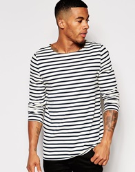 Asos Stripe Long Sleeve T Shirt With Boat Neck Offwhitenavy