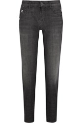 J Brand Sadey Cropped Distressed Slim Boyfriend Jeans Charcoal