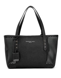 Kenneth Cole Dover Street Leather Perforated Tote Black