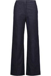 Valentino Cotton Pique Wide Leg Pants Midnight Blue