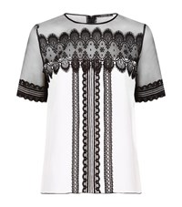 Andrew Gn Lace Panelled Short Sleeve Top Female White
