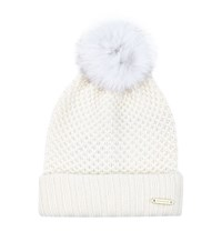 Burberry Shoes And Accessories Fur Pom Pom Beanie Female Ivory