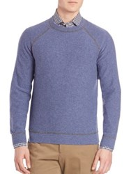 Luciano Barbera Cashmere Raglan Sleeve Sweater Blue