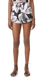 Kendall Kylie Pleated Silk Shorts Leaf Print