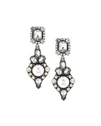 Lydell Nyc Vintage Style Pearly And Crystal Drop Earrings White Natu