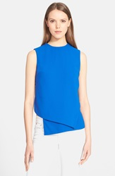 Opening Ceremony Asymmetric Crepe Tank Blue Currant