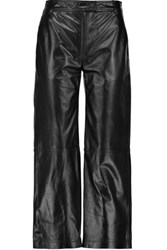 Rag And Bone Otille Leather Wide Leg Pants Black