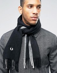 Fred Perry Striped Scarf In Cashmere Mix Black
