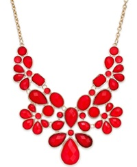 Style And Co. Gold Tone Red Stone Bib Necklace
