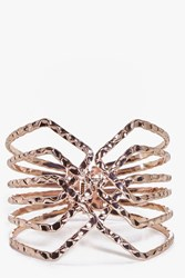 Boohoo Hammered Metal Caged Cuff Bracelet Rose Gold