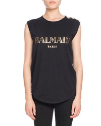 Balmain Button Shoulder Logo Muscle Tee Black