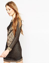 Asos Dress In Knit In Metallic Yarn In Chevron Pattern Blackgold