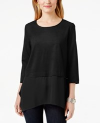 Styleandco. Style And Co. Petite Faux Suede Layered Look Blouse Only At Macy's