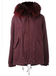 Mr And Mrs Italy Fur Trimmed Hooded Parka Pink And Purple