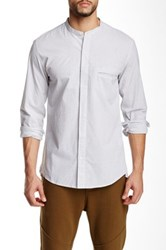 Shades Of Grey Band Collar Button Down Shirt White