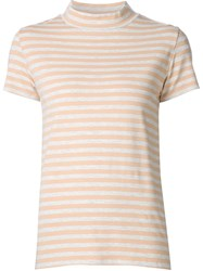 Just Female Mock Neck Striped T Shirt Nude And Neutrals