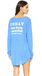 Wildfox Couture Today Is Cancelled Summer Sleep In Shirt Azure Blue