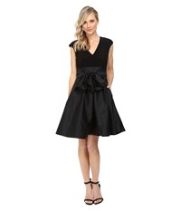 Adrianna Papell Tafetta Fit And Flare V Neck Dress Black Women's Dress