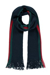 Forever 21 Men Stripe Frayed Scarf Navy Green