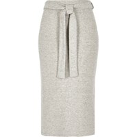 River Island Womens Light Grey Marl Belted Midi Skirt