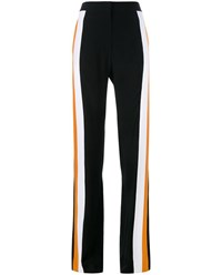 Stella Mccartney Silk Tracksuit Trousers With Side Stripes Black Orange White