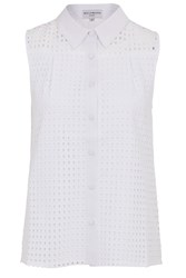 Wolf And Whistle Broderie Sleeveless Shirt White