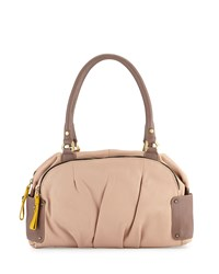 Tina Two Tone Leather Satchel Bag Almond Multi Oryany