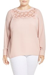 Vince Camuto Plus Size Women's Embroidered Lace Yoke Blouse Rosey Flush