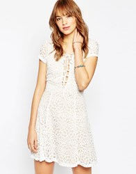Wyldr Hayley Tea Dress In Lace With Lace Up Front White