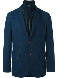 Ermenegildo Zegna Detachable High Collar Blazer Blue