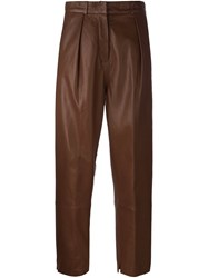 Federica Tosi Leather Trousers Brown