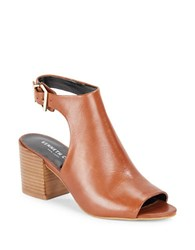 Kenneth Cole Val Leather Cutout Booties Brown