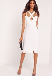 Missguided Crepe Cross Front Plunge Bodycon Dress White White
