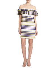 1.State Striped Ruffled Off The Shoulder Dress Purple