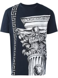 Versus Column Print T Shirt Blue