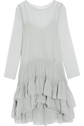 Chloe Tiered Ruffled Silk Mousseline Dress Sky Blue