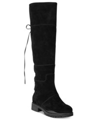 Nine West Mavira Back Lace Up Over The Knee Boots Women's Shoes Black Suede