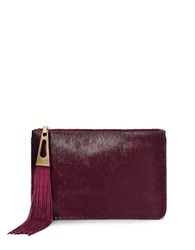 Brian Atwood Awinfred Calf Hair Pouch Dark Red