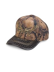 Robin's Jeans Studded Brim Snake Printed Cap Light Brown
