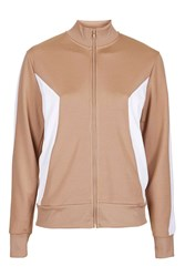 Topshop Sporty Zip Through Track Top Camel