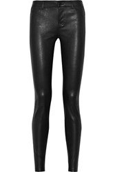 Vince Leather And Suede Skinny Pants Black