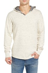Lucky Brand Men's Washed Hooded Henley Oatmeal